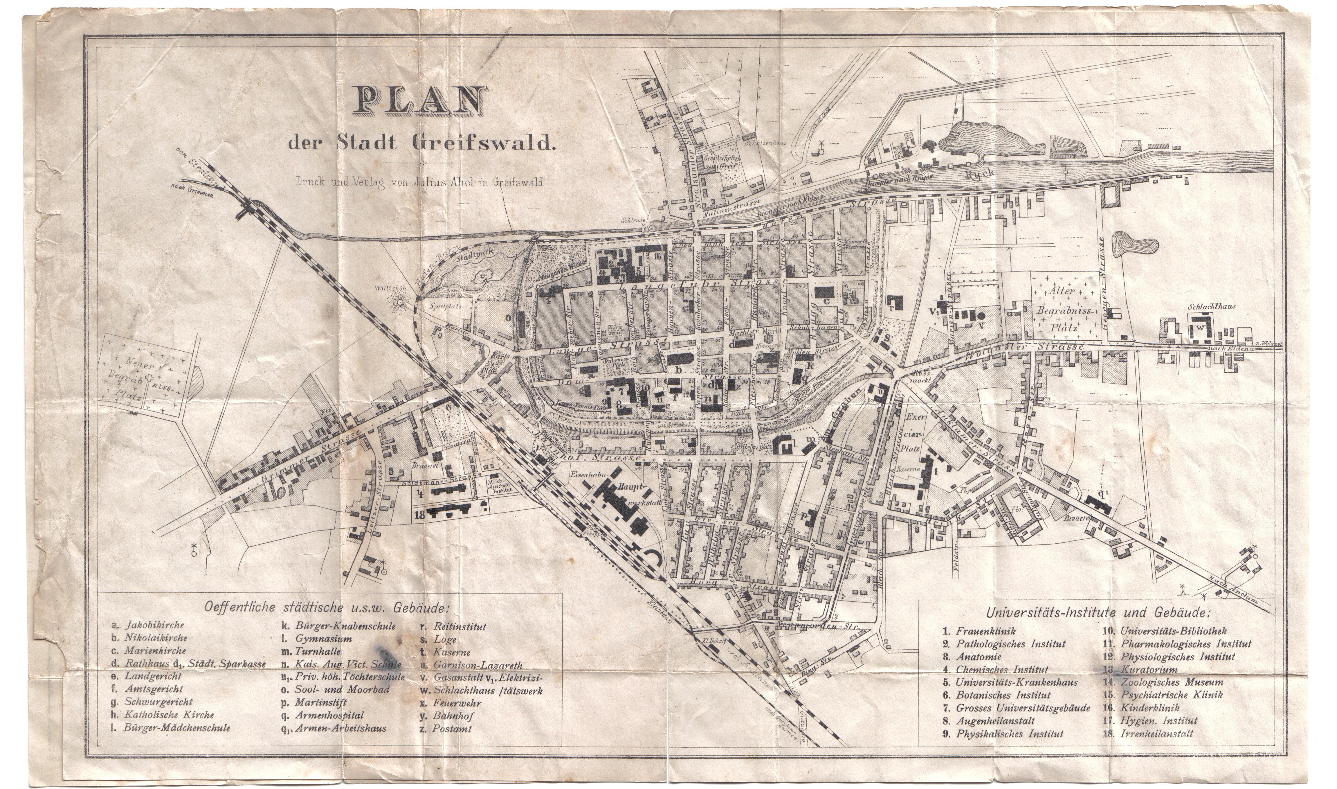 Greifswald Karte.Historischer Plan Der Stadt Greifswald