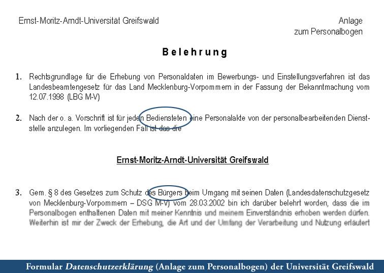 Personalbogen Uni Greifswald