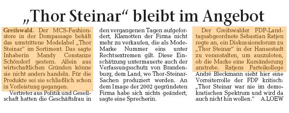 Thor Steinar Debatte Greifswald