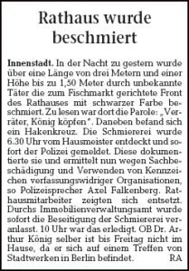 Greifswalder Rathaus besprüht