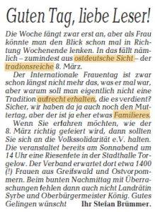 Frauentag Ostsee-Zeitung