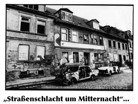 Reste einer Straßenschlacht in Greifswald