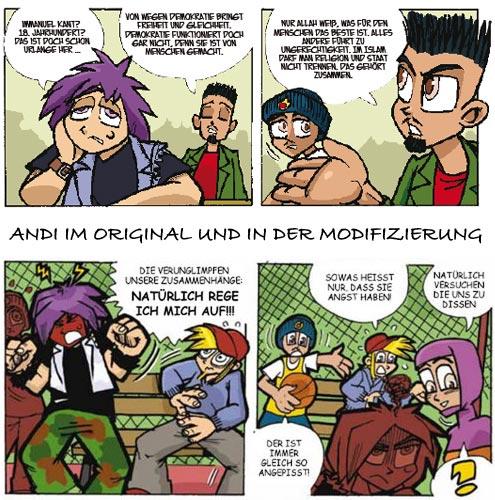 Comic-Held Andi gegen Extremismen