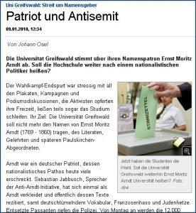 Arndt-Debatte jetzt auch in der Süddeutschen Zeitung