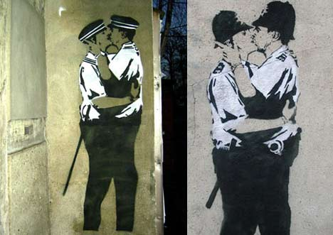 Banksy Greifswald küssende Burschen