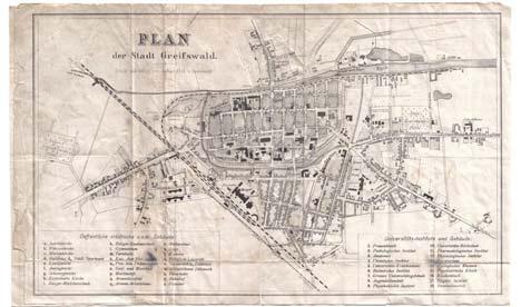 Historischer Plan der Stadt Greifswald