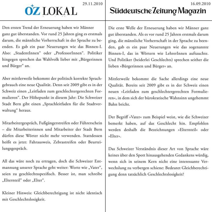 Peinlich: OZ kopiert beim SZ-Magazin