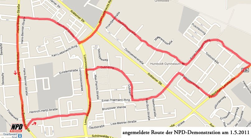 NPD Demo Route Greifswald
