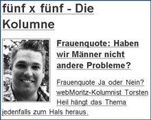 "Lieber webMoritz-Kolumnist, lasse ""uns Männer"" bitte aus dem Spiel!"