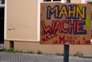 mahnwache npd-stand