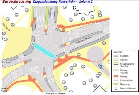 Diagonalquerung: Verkehrsversuch endet mit positivem Fazit