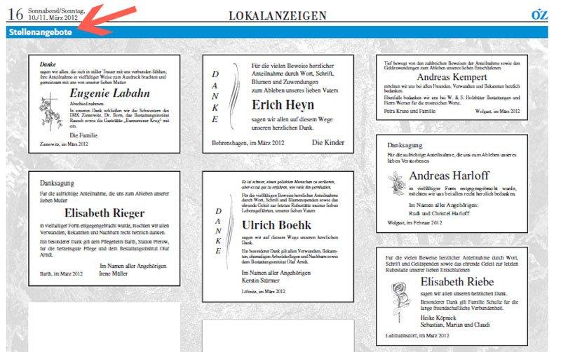 Ostsee Zeitung Ribnitz Damgarten Todesanzeigen