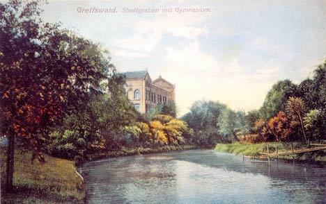 stadtgraben greifswald jahngymnasium historisch postkarte