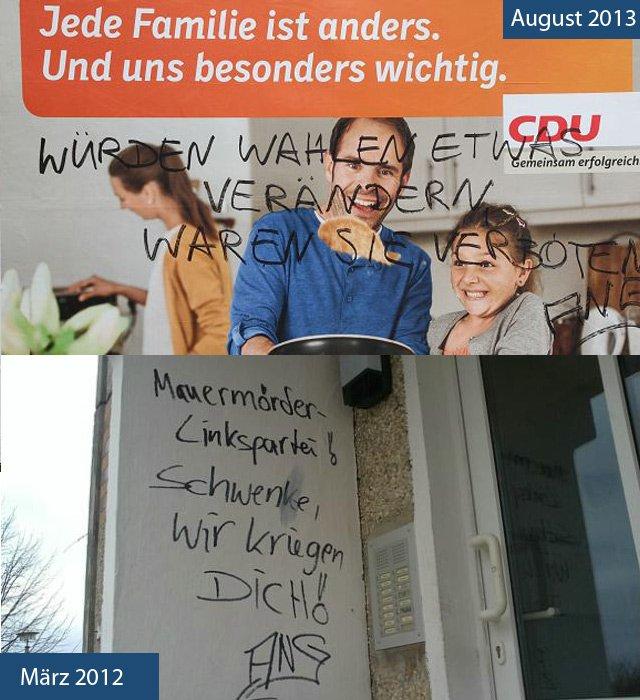 CDU Plakat beschmiert