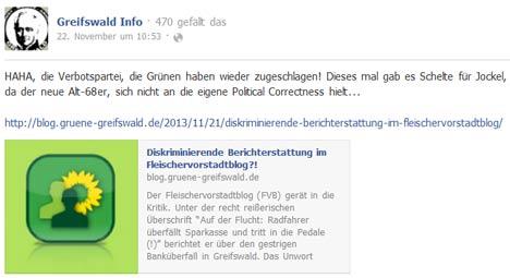 Facebook der Nationalen Sozialisten Greifswald über den Fleischervorstadt-Blog