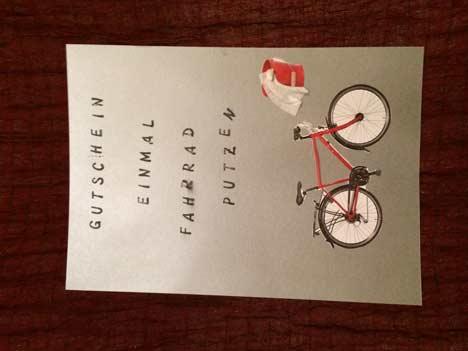 Gutschein Fahrrad putzen