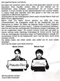 Flugblatt von Neonazis, um linke Studenten zu outen