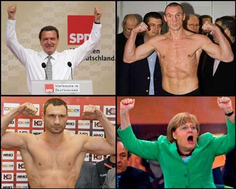 Vitali Klitschko Gerhard Schröder Angela Merkel