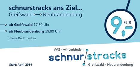 Werbung für einen Fernbus von Greifswald nach Neubrandenburg