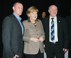 Foto vom Neujahrsempfang der CDU Greifswald mit Sebastian Sylvester, Angela Merkel und Egbert Liskow