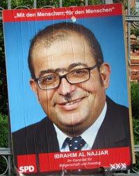 Beschmiertes Wahlplakat Ibrahim Al Najjar SPD