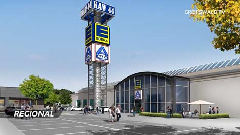 Entwurf des Einkaufszentrums KAW-Hallen Greifswald
