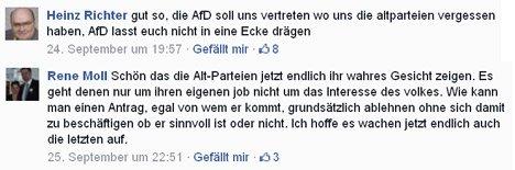 Zwei User kommentieren bei Facebook das Wahlverhalten der AfD