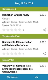 Screenshot der Mensaplan-App