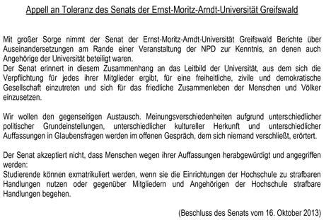 Toleranzappell Universität Greifswald
