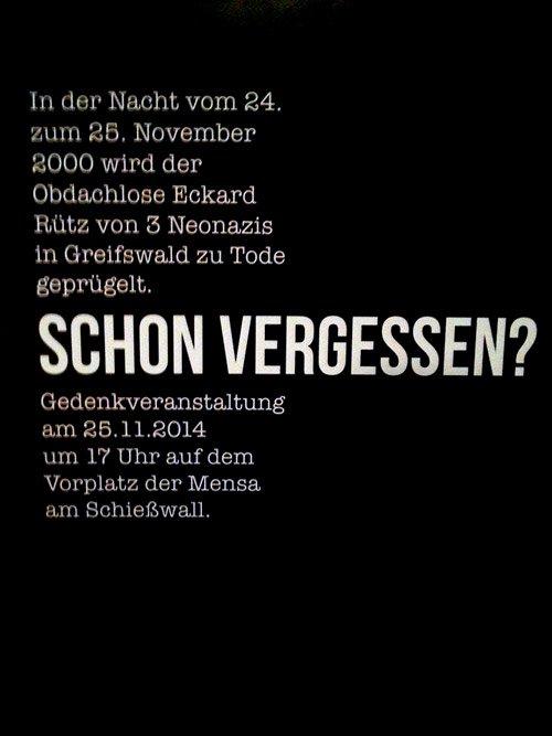 Greifswalder erinnern an den ermordeten Obdachlosen Eckard Rütz