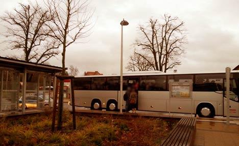 Bus zur Mvgida-Demonstration in Stralsund