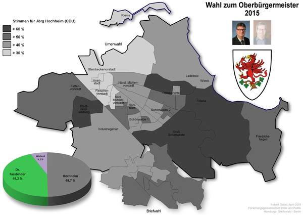 Von Jörg Hochheim gewonnene Wahlbezirke bei OB-Wahl 2015 in Greifswald