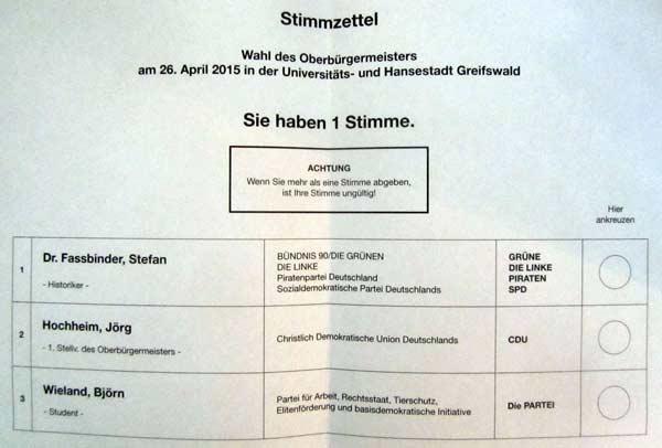 Oberbürgermeisterwahl- in Greifswald Stimmzettel