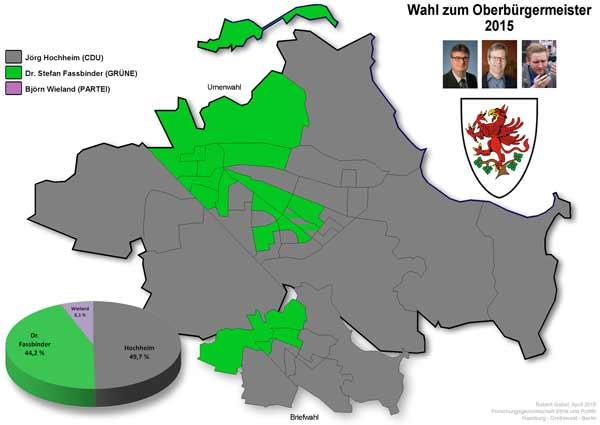 Gewonnene Wahlbezirke bei OB-Wahl in Greifswald 2015