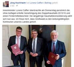 OB-Wahl 2015: Hochheim kriegt Unterstützung von oben
