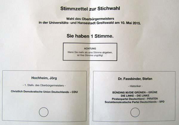 wahlzettel stichwahl greifswald