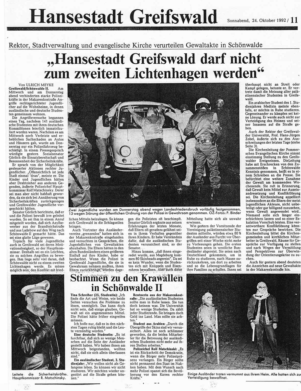 Ostsee-Zeitung, Hausbesetzer vs Neonazis