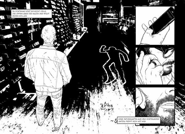 """Ausstellung: """"Weisse Wölfe – eine grafische Reportage über rechten Terror"""""""