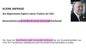 Landesregierung beantwortet Egbert Liskows Kleine Arndt-Anfrage