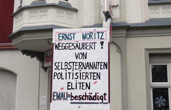 Plakat eines Arndt-Anhängers bei der Menschenkette in Greifswald