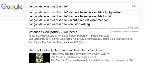 Google Suggestions: Der Gott der Eisen wachsen ließ