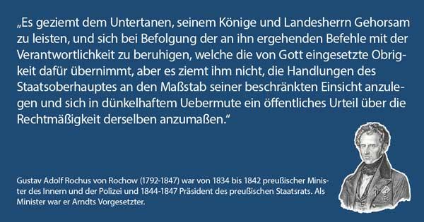 Gustav von Rochow, ministerialer Vorgesetzter von Arndt