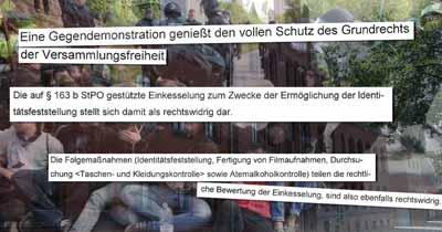 Versammlungsrecht: Einkesselung der Sitzblockade gegen FFDG-Demo war rechtswidrig