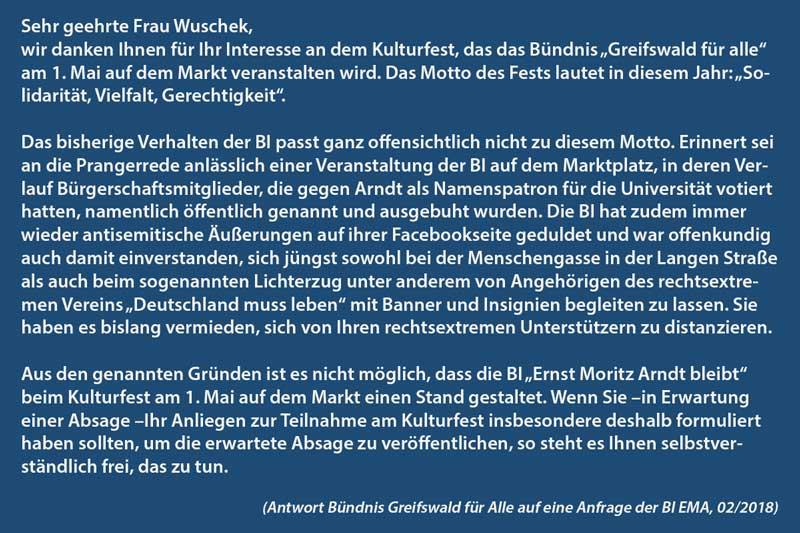 Absage BI Ernst Moritz Arndt