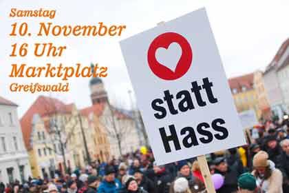 Aufruf zu vielfältigen Protesten gegen die AfD-Demo am 10.11.2018 in Greifswald