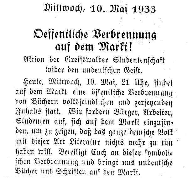 Aufruf zur Bücherverbrennung in Greifswald