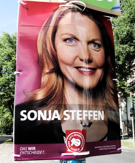 Auch die Plakate demokratischer Parteien blieben nicht von der NPD-Propaganda verschont.