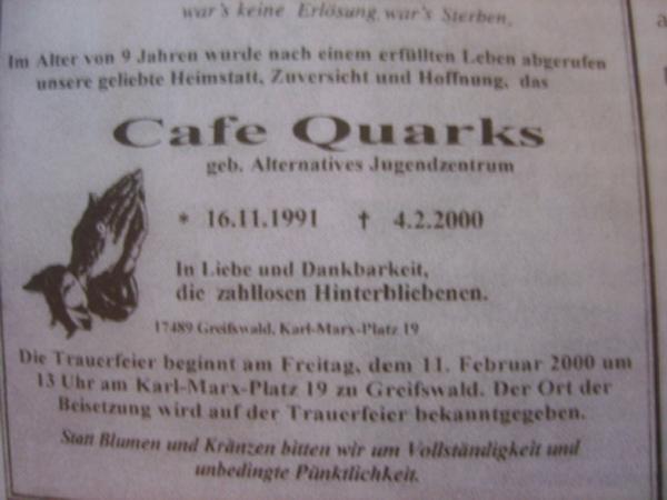 Flyer zum AJZ-Begräbnis