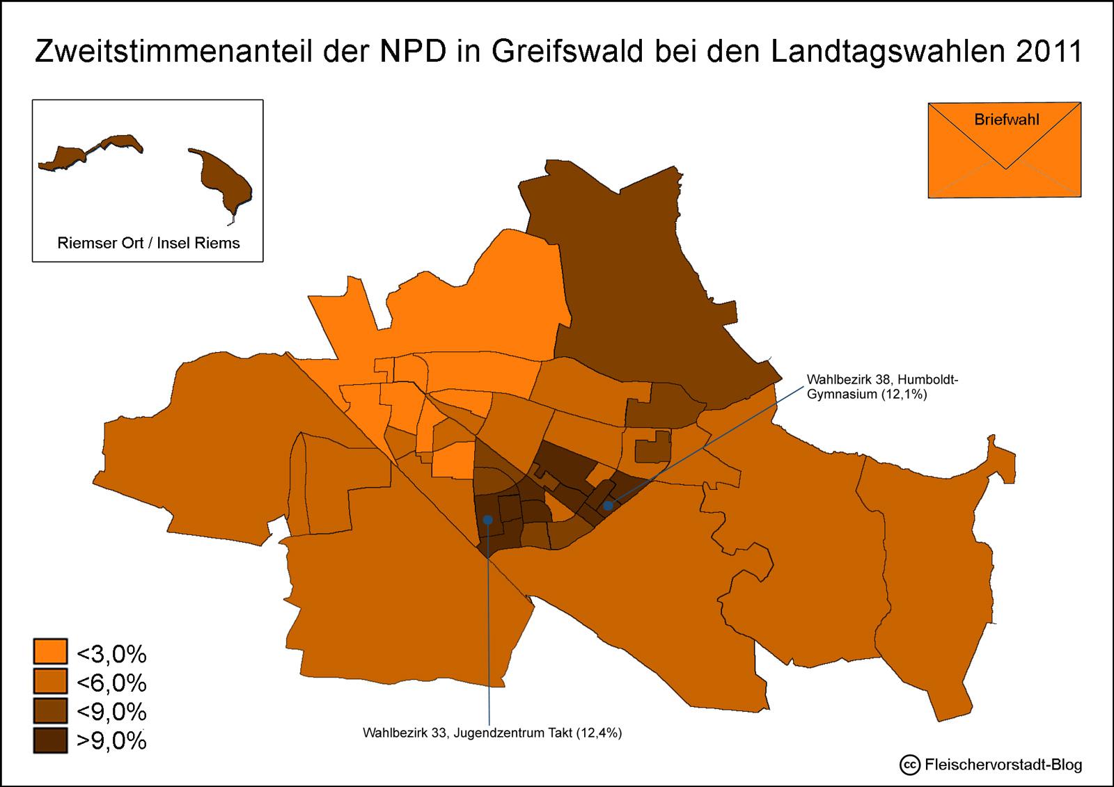 Wo wurde in Greifswald die NPD gewählt?