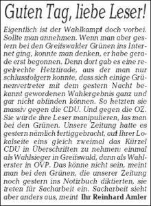 OZ-Lokalchef Amler faucht zurück